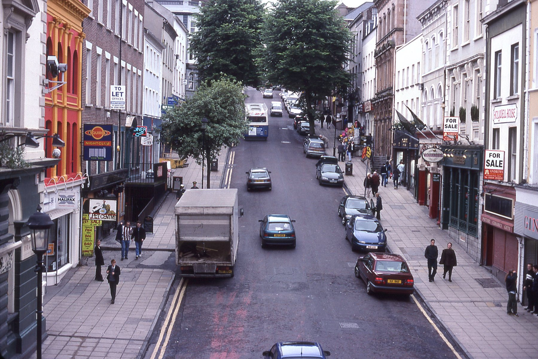 Shipquay Street in Derry from the city wall.