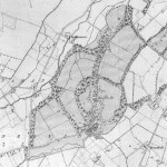 Old map of the Monellan estate showing location of the castle/manor house.